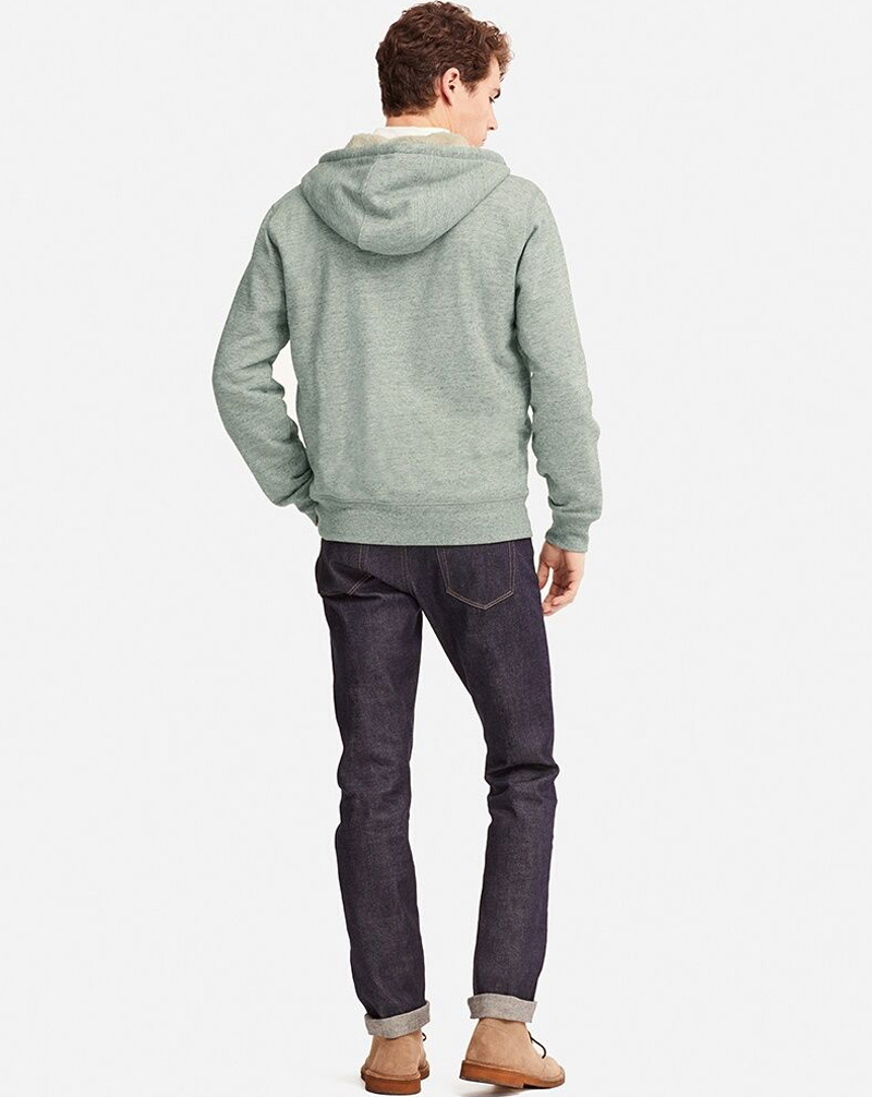 Uniqlo Men Pile Lined Sweat Long Sleeve Full-Zip Hoodie