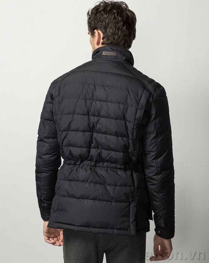 Ao khoac nam Massimo Dutti QUILTED THREE QUARTER COAT WITH DETACHABLE FRONT