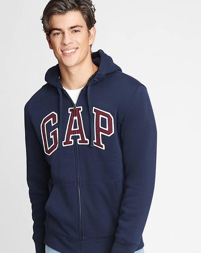 Gap Sherpa-Lined Logo Full-Zip Hoodie