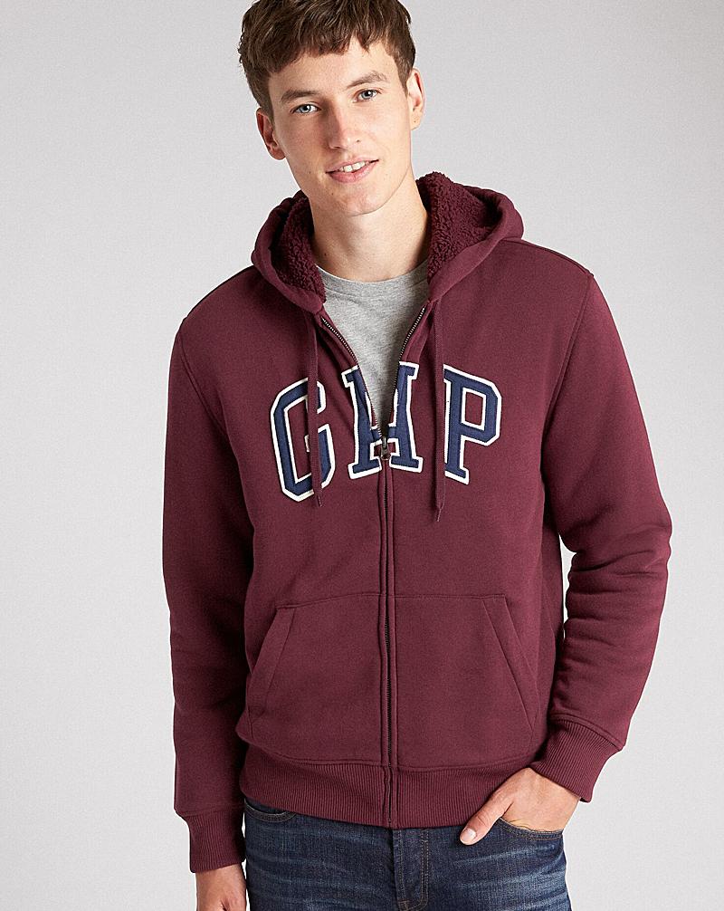Ao Khoac Nam Gap Sherpa-Lined Logo Full-Zip Hoodie